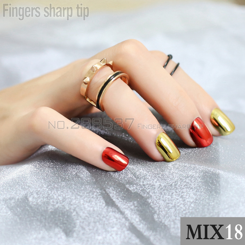 48pcs personality mirror false nails Gold Silver Red Purple Fake ...