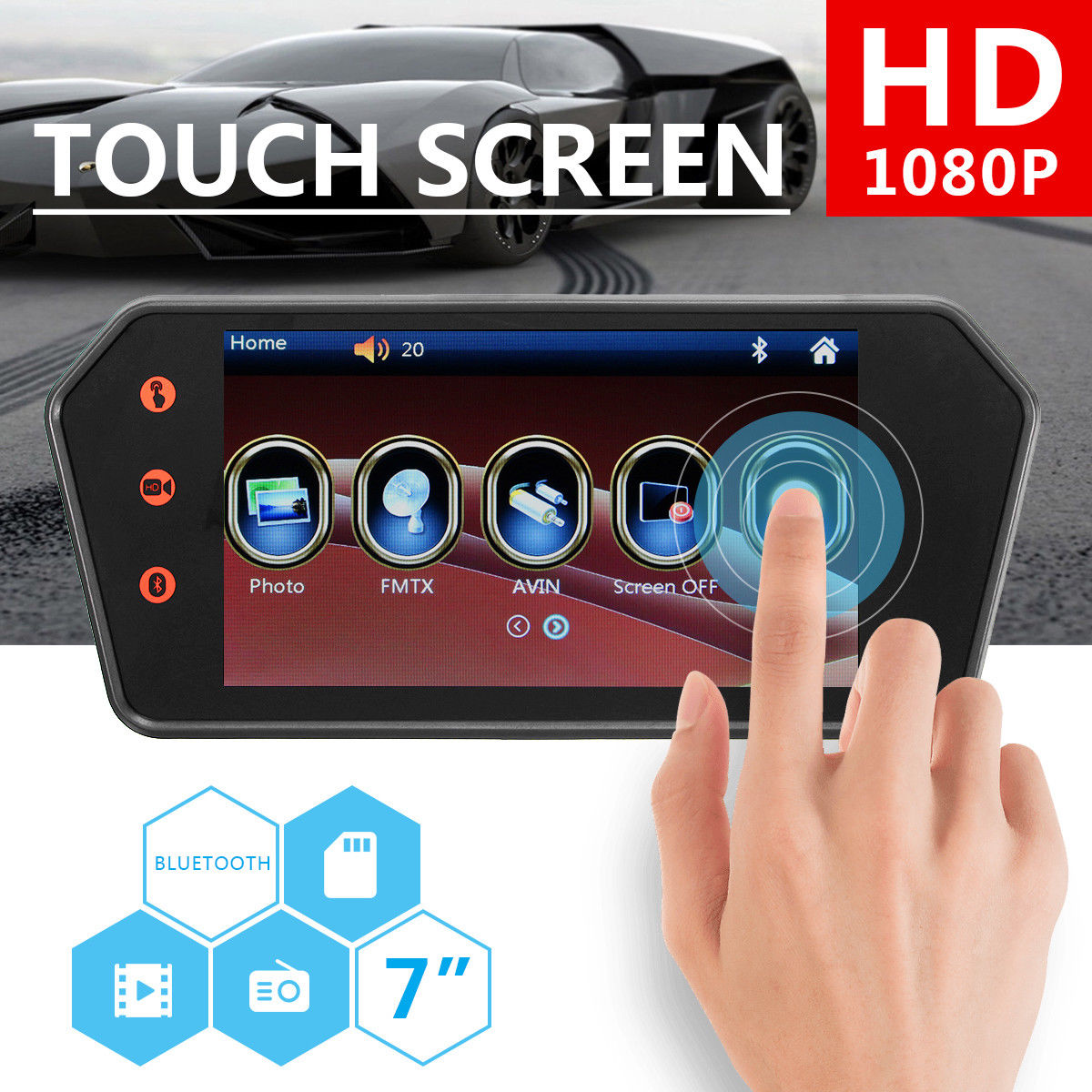 7 LCD MP5 Bluetooth Car Rear View Mirror Monitor Touch Screen HD Reversing View Parking Monitor 7 inch touch screen bluetooth mp5 car rear view mirror monitor tf usb 800 480 lcd fpv bt mirror pal ntsc for car or truck bus