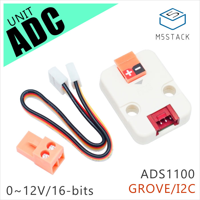 M5Stack Official ADC Unit 16 Bit I2C GROVE ADS1100 Module 0V To 12V Analog-to-digital Converter Development Board