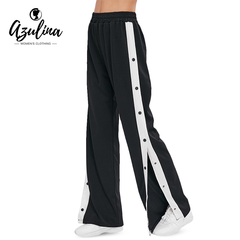 AZULINA Women   Wide     Leg     Pants   Colorblock Contrast Snap Button Side   Pants   Casual High Waist Trousers New Stretchy Athleisure   Pants