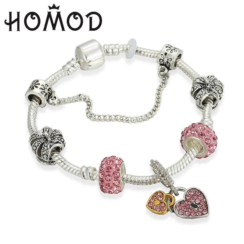 HOMOD Simple Crystal Heart key Charm Bracelets & Bangles Fits Silver Brand Bracelets For Women Jewellery Pulseira Feminina пандора браслет с шармами