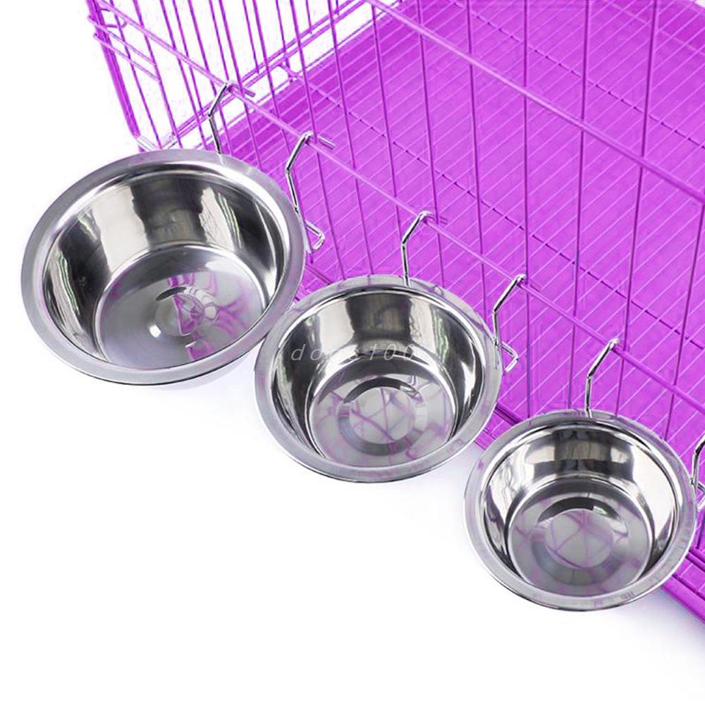 Stainless Steel Hanging Pet Cage Bowl Coop Cup Bird Cat Dog Puppy Food Water Bowl Pet Travel