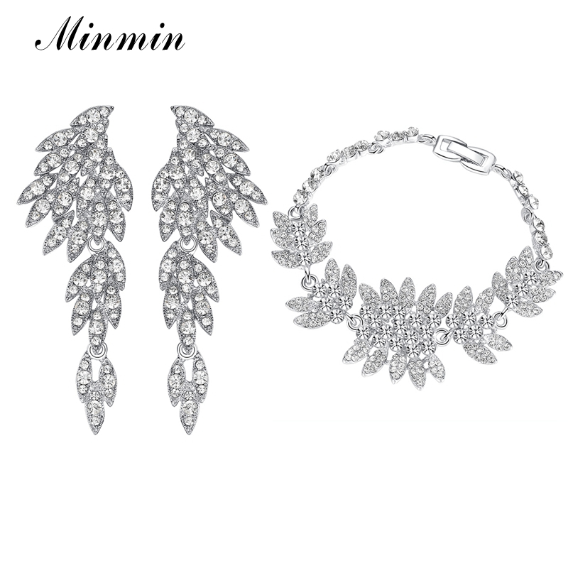 Minmin Crystal White K Color Jewelry Sets