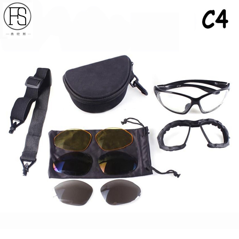 Military Hunting C4 Tactical Sunglasses Outdoor Sport Shooting Hiking Camping Sunglasses Windproof Eye Protective Men Glasses