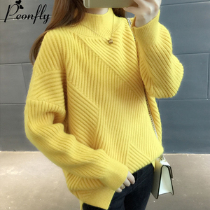 Image 2 - PEONFLY New 2019 Loose Thick Warm Winter Pullover Sweater Women Jumper Half Turtleneck Long Sleeve Knit Yellow Sweater Female