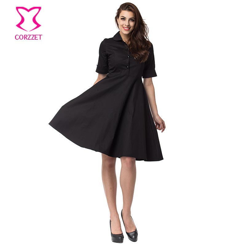 US $26.4 45% OFF|Corzzet Vintage Black&Red Cotton Sleeve Dresses Plus Size  Retro Casual Party Robe Pinup Rockabilly 50s Vintage Dresses-in Dresses ...