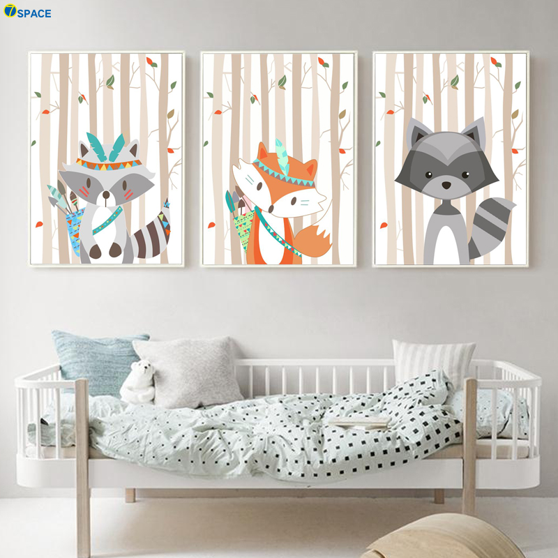 Fox Raccoon Forest Tree Nursery Art Prints Nordic Posters And Prints Wall Art Canvas Painting Wall Pictures Baby Kids Room Decor