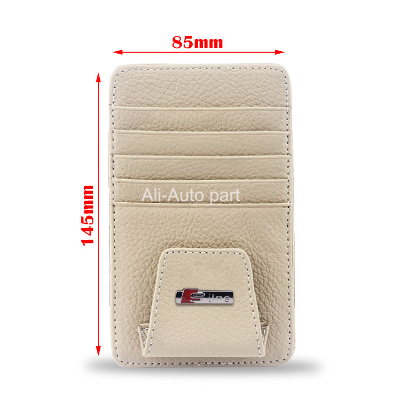 Genuine Leather Car Glass Clip Sticker For Audi 80 A1 A2 A3 A4 B7 A5 A6 C5 A7 A8 Q3 Q5 Q7 RS R8 TT S3 S4 S5 S6 S7 S8 SQ5 S line