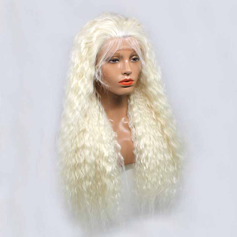 DLME Platinum Blonde Long Curly 26 inches Full Density Synthetic Lace Front Wig with Baby Hair