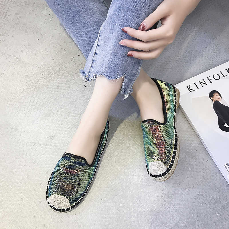 Kjstyrka Hemp insole Fisherman Shoes Women Flats Casual Round Toe Spring  Autumn Lazy Loafers Bling Glitters c0cf194e95ea