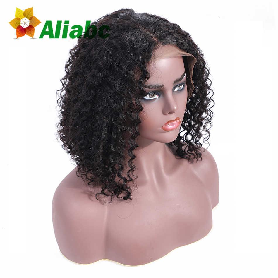 Aliabc волосы боб парики бразильские Короткие Кружева передние человеческие волосы парики для черных женщин натуральный цвет Remy курчавые Бесплатная доставка