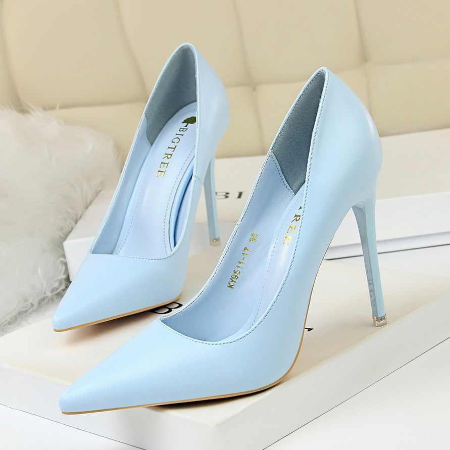 BIGTREE/Женская обувь на высоком каблуке; сезон весна-осень; женские туфли-лодочки; модная офисная обувь; женская свадебная обувь; пикантные вечерние туфли с острым носком