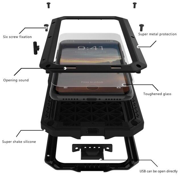 Shockproof Coque Aluminum Metal bumper Frame+Glass Cover On For <font><b>iphone</b></font> 4 4s 5s 5 s SE 6s 6 s plus 6plus 6splus 7 7plus Case