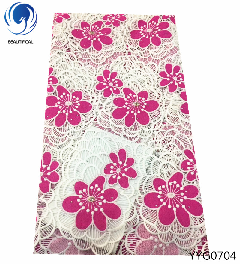 BEAUTIFICAL High Quality African Lace Fabric 2018 Latest African Guipure Lace with stones Nigerian cord Lace Fabric 5yards YYG07-in Lace from Home & Garden    1