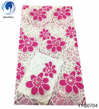 BEAUTIFICAL High Quality African Lace Fabric 2018 Latest Guipure with stones Nigerian cord 5yards YYG07