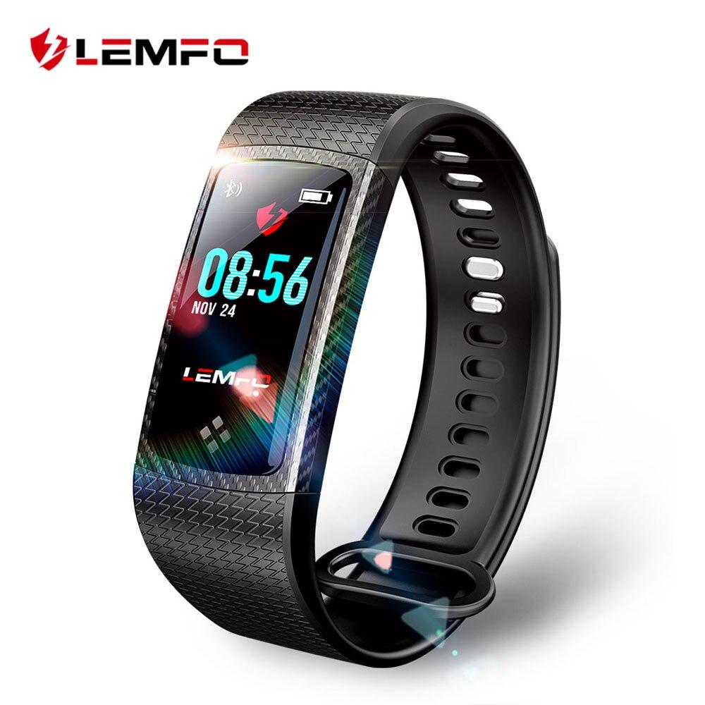 LEMFO Bracelets Bande À Puce Couleur LCD Écran Remise En Forme Bracelet IP67 Étanche Intelligent Bande de Fréquence Cardiaque pour IOS Android Téléphone