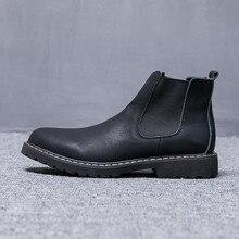 Зимняя обувь больших размеров 37-47 мужские ботинки «Челси» мужские ботинки с Плюшевым Мехом кожаная обувь, мужские ботинки «Челси» sapato masculino PINSV