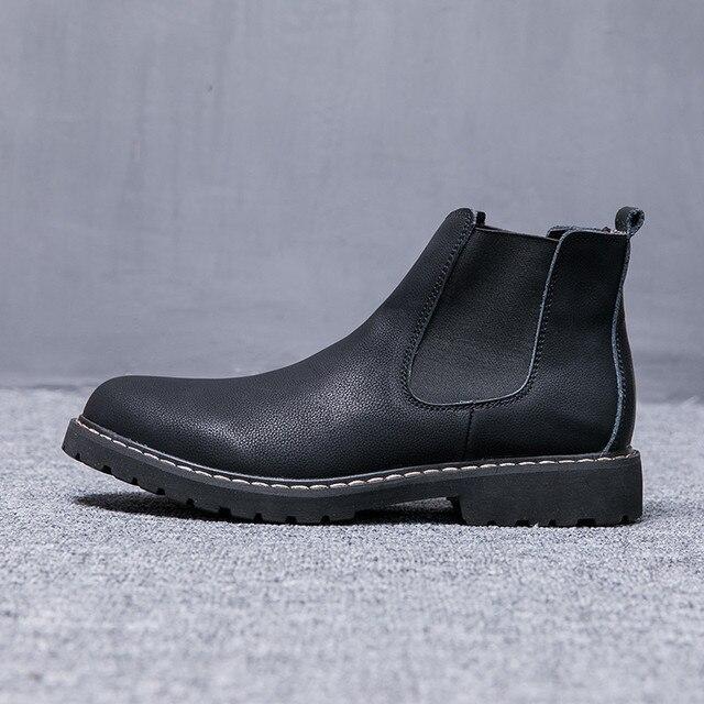 Kích Thước lớn 37-47 Giày Mùa Đông Người Đàn Ông Chelsea Boots Lông Thú Sang Trọng Mens Giày Da Giày Dép Mens Chelsea Boots sapato masculino PINSV