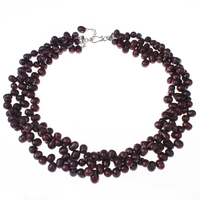 Natural Freshwater Pearl Necklaces Clavicle Chains Charm 3 Strands Wine Red Collares Mujer 7 8mm Pearls