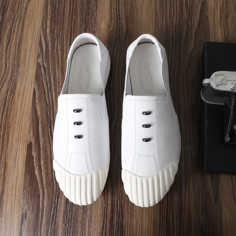 Slip-On round toes Casual Shoes Men's Business Casual Loafers Male Flats mocassin homme Dress Casual shoes White Elastic Band white grey casual round neck bodycon hem mini dress