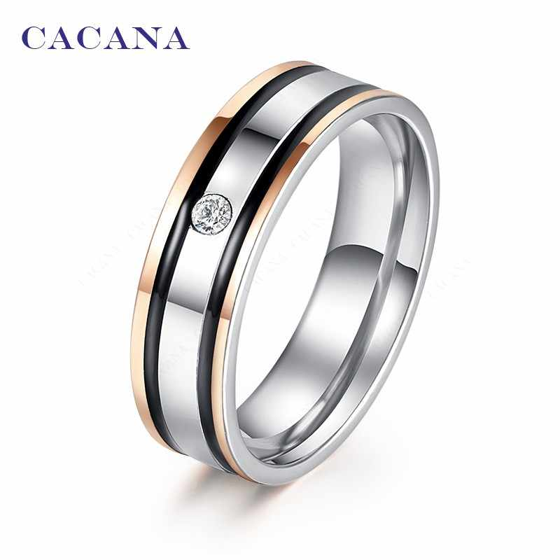 CACANA  Stainless Steel Rings For Women Elegant Double Black Border With A CZ  Fashion Jewelry Wholesale NO.R136