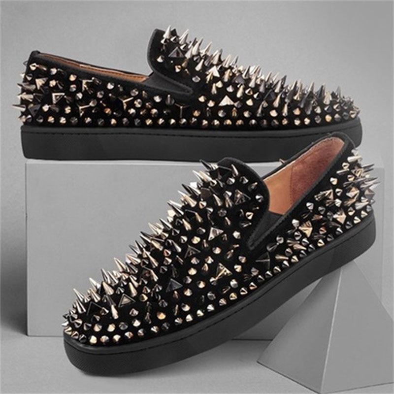 Larga Desgaste Mocasines Italiano Hombres Zapatos Calzado Los Lujo Suave Moda Slip Perezoso Diseño Transpirable Remache Cuero De Baile On 7H8C7q
