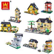 Wange garden city 10 models Luxury Villa series Town House Model building Block kits 3D blocks Educational  toys стоимость