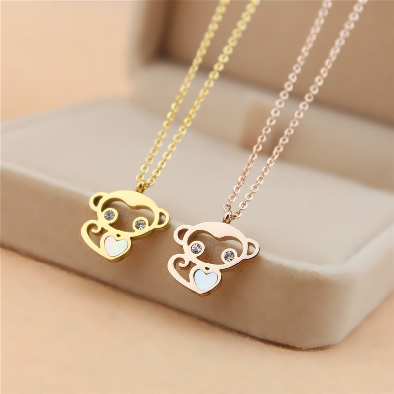 Never Fade Rose Gold color Cute Crystal shell Heart Monkey Pendant Necklace Fashion Woman love chains