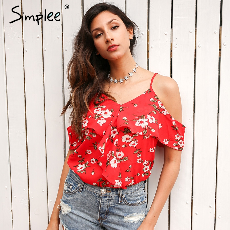 Simplee Ruffles floral print chiffon camisole women Sexy v neck cold shoulder straps tops Summer beach boho camis tops