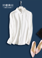 The new small lapel pure manual low key costly women long sleeve mulberry silk heavy silk shirt