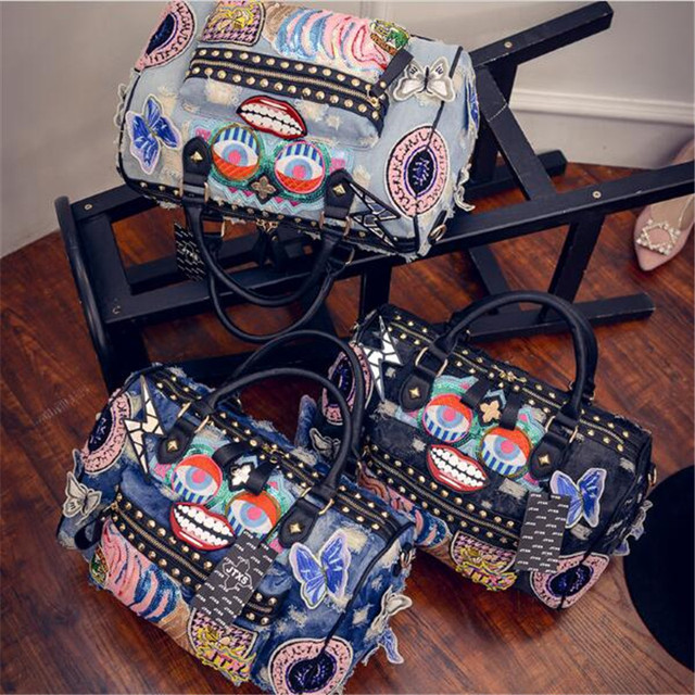 SINPAID Rock Style Totes Women Denim Handbags Casual Shoulder Bags Vintage Demin Blue Top Handle Bags Bolsa Large Travel Bags