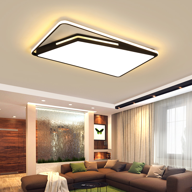 Luzes de teto Luminária moderna sala de estar Quarto sala de Jantar plafondlamp Preto Cor Branca Controle Remoto Dimmable lâmpada do teto|Luzes de teto| |  - title=