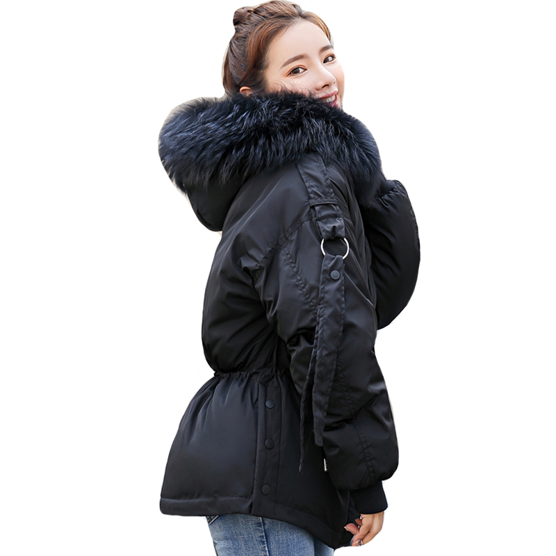 Korean Style 2019 Winter Jacket Women Cotton Padded Hooded With Fur Female Short Coat Ladies   Parka   Mujer Invierno