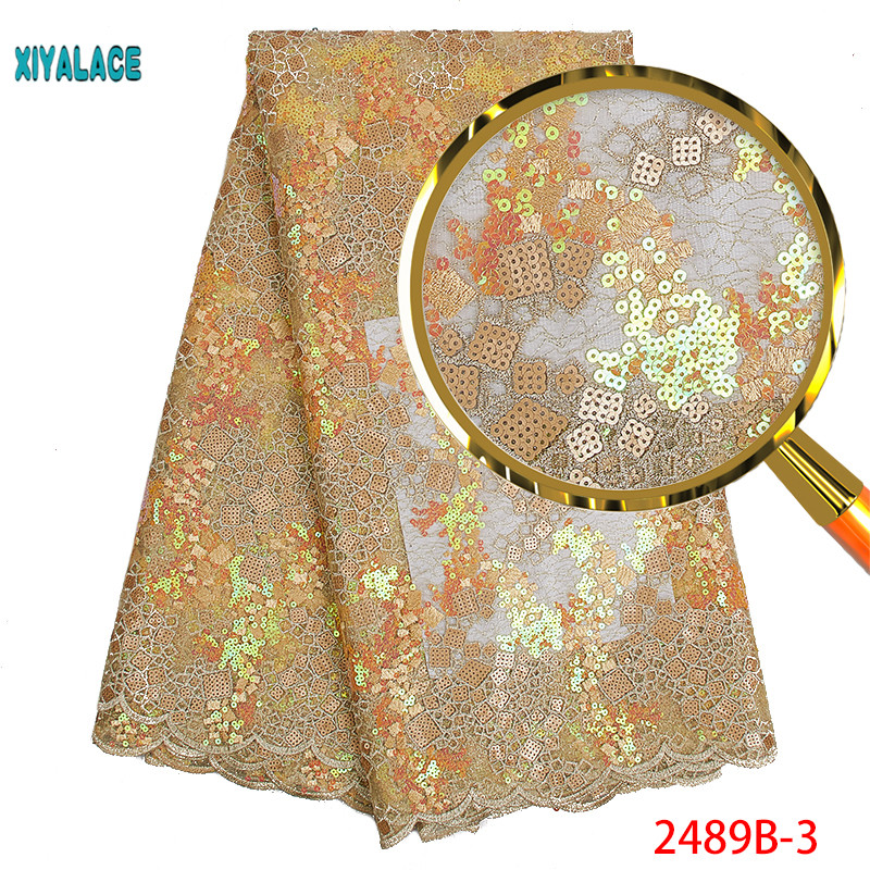 African Lace Fabric 2019 High Quality Nigerian Lace Fabrics Organza Sequins Beads Yellow French Tulle Lace Fabric YA2489B-3