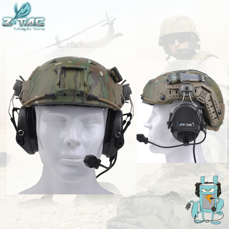 Z-TAC Sordin Headset Noise Canceling Earphone With FAST Helmet Rail Adapter Set  Z034