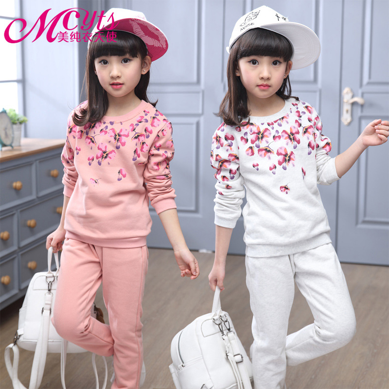 New 2016 Spring autumn girls clothing set floral printed kids suit set casual two-piece sport suit for girl tracksuit