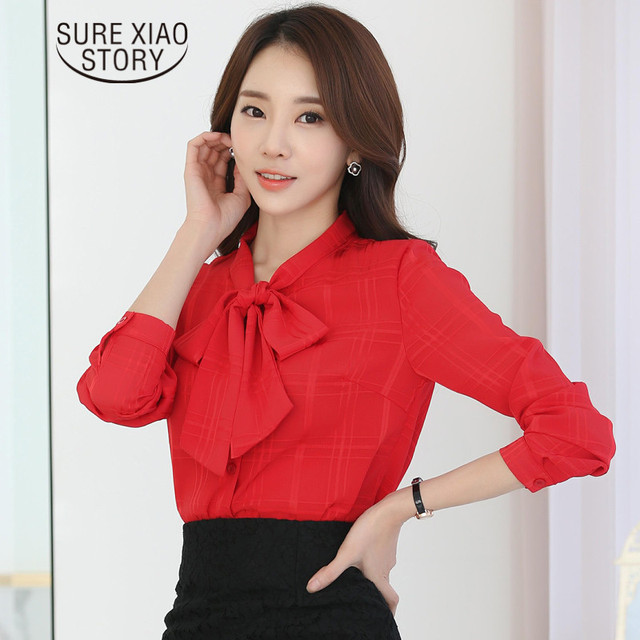 3156074fb6c4 € 10.62 15% de DESCUENTO 2019 primavera nueva moda versión coreana blusa  pajarita camisa mujer joven Camisa de gasa camisa sólida mangas largas Tops  ...