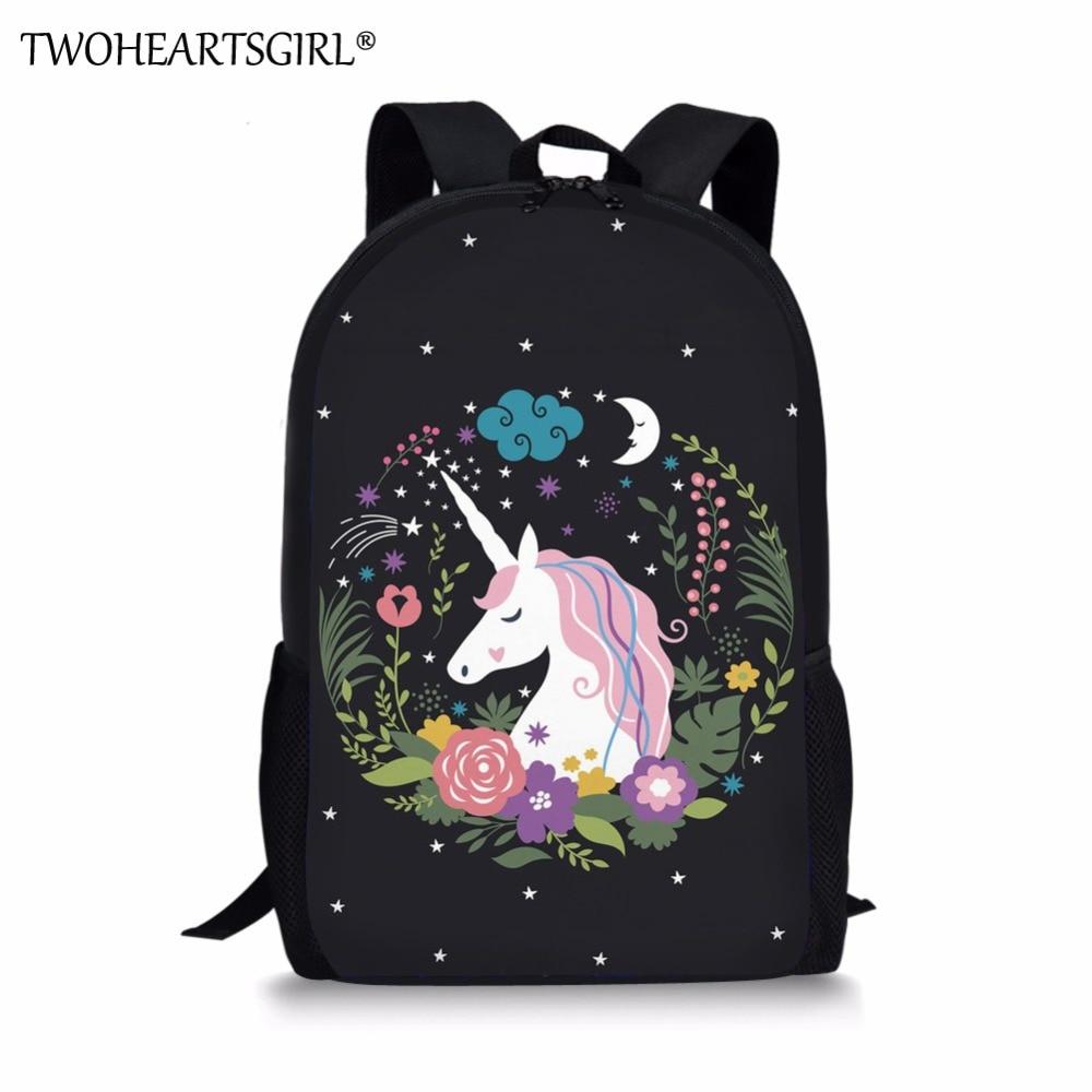 Twoheartsgirl Cartoon Cute Unicorn Design Girls School Bags Children Kids Schoolbags Primary Junior Students Fashion Bookbags