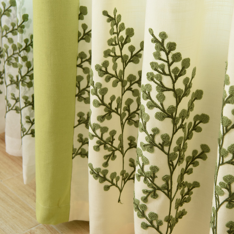 Europe and American Milan City Garden Mianma Shading Decorative Curtain Embroidery Cloth Living Room Bedroom Customized