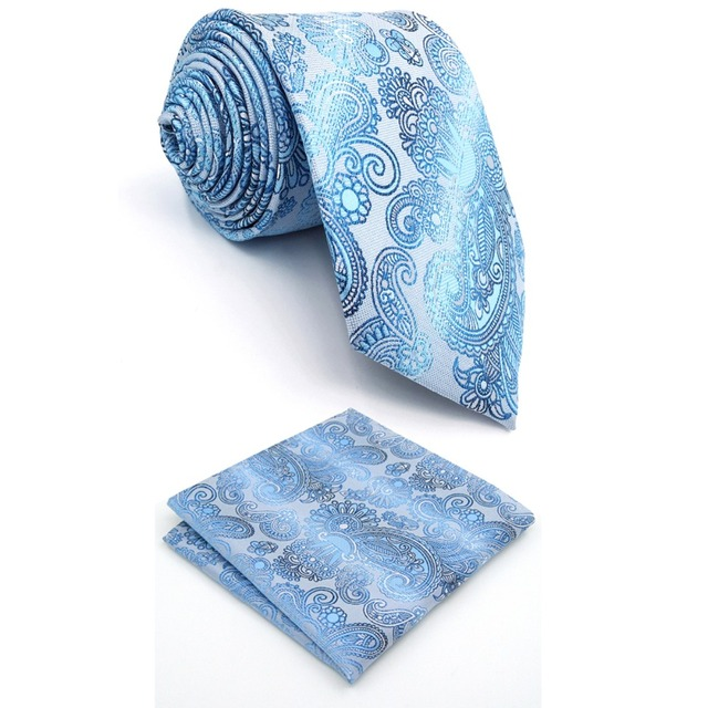 2c02b1da40ea A12 Light Blue Floral Silk Handmade Jacquard Woven Fashion Classic Men  Necktie Set Tie extra long size Hanky 63