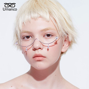 Image 2 - Umanco 2019 New Fashion Silver Glasses Frame For Women Men Luxury Designer Brand Street Photography Girl Gifts