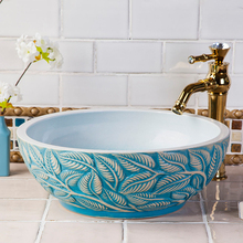 BEIQIAO China Artistic Handmade Porcelain Round Ceramic Wash Basin Bathroom  Sinks
