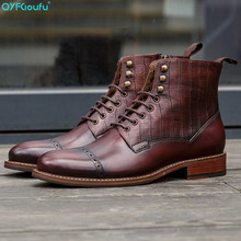 QYFCIOUFU New 2019 Designer Man Carved Martins Boots Shoes Genuine Leather Round Toe Men's Lace Up Vintage Chelsea Ankle Boots round toe man monk straps chelsea shoes british designer genuine leather handmade footwear formal men s martin ankle boots js35