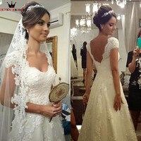 A line Scoop Lace Tulle Bridal Gown Vestidos De Novia 2018 robe de mariee Custom Made Vintage Marriage Wedding Dresses WA34