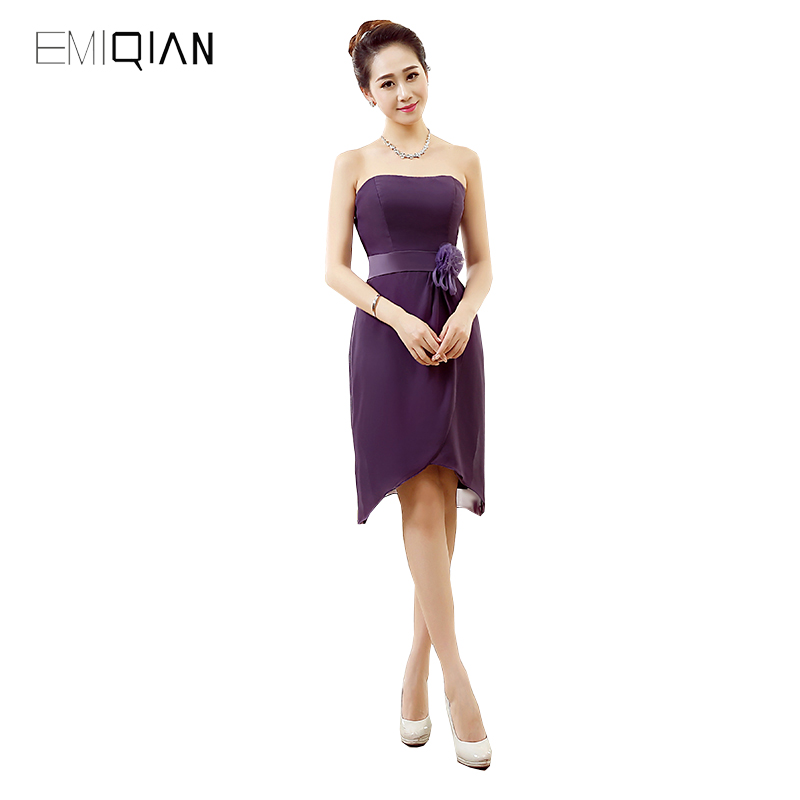 Strapless High Low Purple Chiffon Cocktail Party Dress 2017