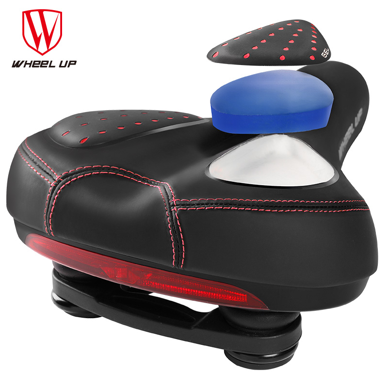 WHEEL UP MTB Mountain Road Bike Bicycle Saddle For Men Elastic silicone Gel Taillight Saddle  A Cycling Seat For A Bike miracle bikes 2017 free shipping 3k cycling bicycle saddle mtb road bike carbon rail saddle seat 116g carbon saddle