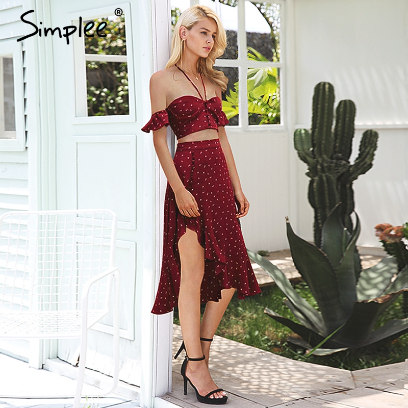 Simplee Halter backless sexy crop top women Ruffle short sleeve tops tees tie up bustier Summer beach camis red casual shirt