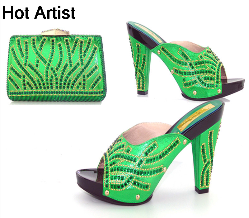 Hot Artist New Fashion Style Ladies Shoes And Bag Set Africa High Heels Shoes And Bag Set For Party Free Shipping TYS17-20 hot artist summer style africa woman shoes and bag set hot selling fashion slipper shoes and purse set for party bl425c