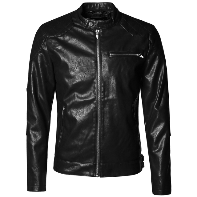 Men Motorcycle Biker short leather jacket men zipper mens jaqueta de couro masculina slim leather jackets Windbreak coats 2016