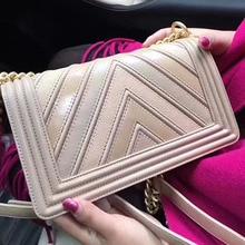Одежда высшего качества Для женщин натуральная кожа сумки бренда дизайнера V полосатый цепи CowLeather сумка через плечо сумки роскошные